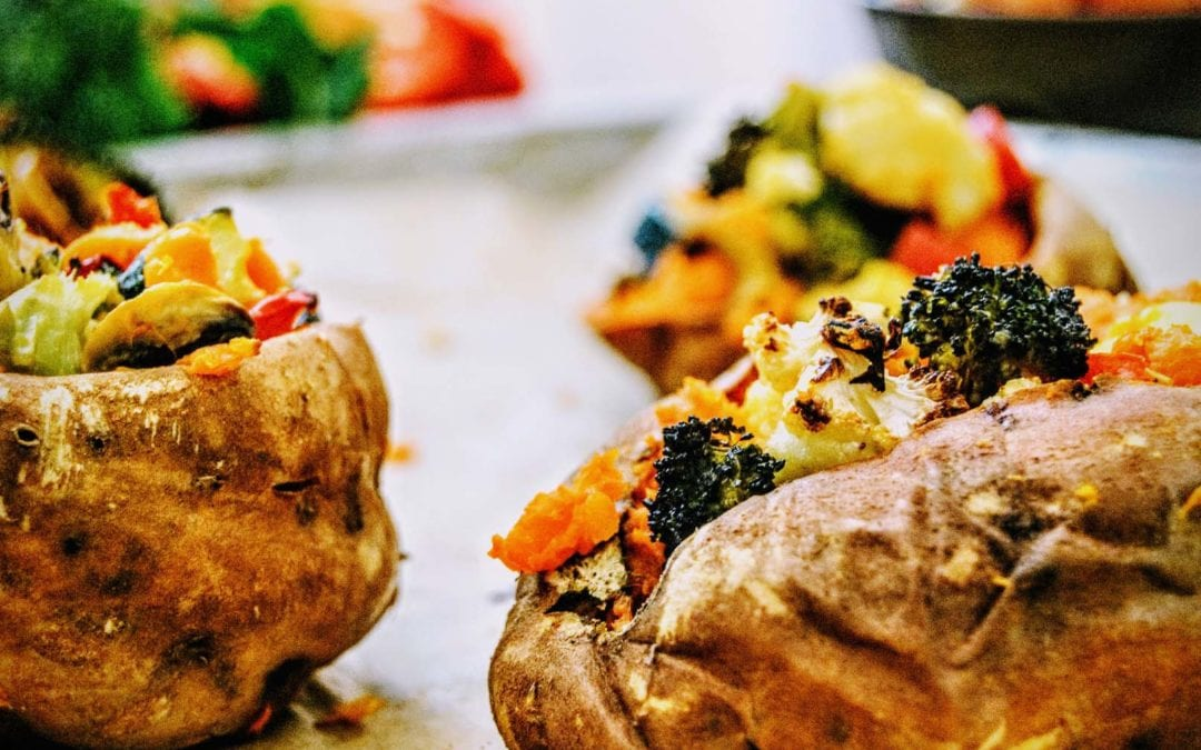 Ofen Süßkartoffel mit Gemüse
